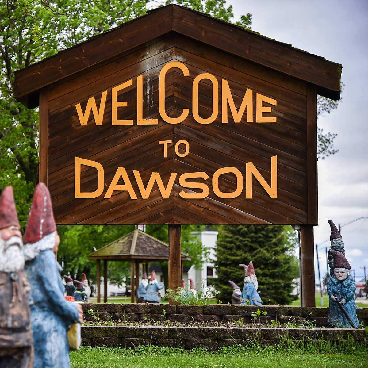 A wooden sign welcomes visitors to Maple Dawson Park near Moorestown, NJ.