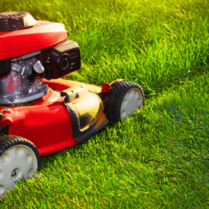 red lawn mower cutting grass
